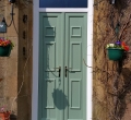 Double doors & chart green panels